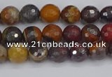 CTE1819 15.5 inches 6mm faceted round red iron tiger beads