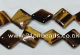 CTE186 15.5 inches 10*10mm diamond yellow tiger eye gemstone beads