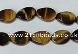 CTE192 15.5 inches 10*14mm twisted oval yellow tiger eye gemstone beads