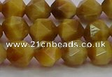 CTE1934 15.5 inches 12mm faceted nuggets golden tiger eye beads