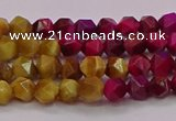 CTE1936 15.5 inches 6mm faceted nuggets mixed tiger eye beads
