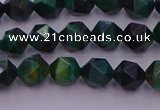 CTE1946 15.5 inches 6mm faceted nuggets green tiger eye beads