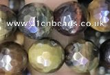 CTE2003 15.5 inches 10mm faceted round AB-color mixed tiger eye beads