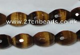 CTE208 15.5 inches 10*14mm faceted rice yellow tiger eye beads