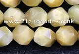 CTE2136 15.5 inches 8mm faceted nuggets golden tiger eye beads