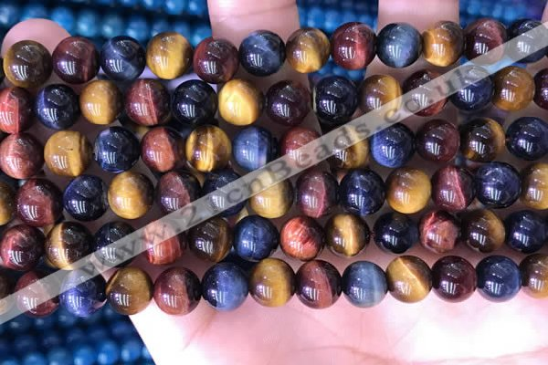 CTE2212 15.5 inches 10mm round colorful tiger eye beads wholesale