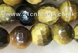 CTE2232 15.5 inches 6mm faceted round yellow tiger eye beads