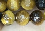 CTE2233 15.5 inches 8mm faceted round yellow tiger eye beads