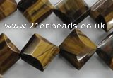 CTE316 15.5 inches 15*15mm faceted diamond yellow tiger eye beads