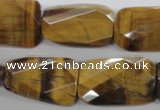 CTE318 18*25mm twisted & faceted rectangle yellow tiger eye beads