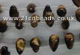 CTE337 Top-drilled 6*10mm teardrop yellow tiger eye gemstone beads