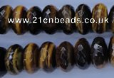 CTE404 15.5 inches 8*16mm faceted rondelle yellow tiger eye beads