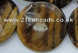 CTE410 15.5 inches 40mm faceted coin yellow tiger eye beads