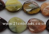 CTE468 15.5 inches 18*20mm faceted flat teardrop mixed tiger eye beads
