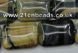 CTE578 15.5 inches 18*25mm rectangle golden & blue tiger eye beads