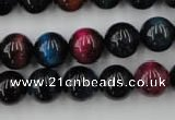 CTE594 15.5 inches 12mm round colorful tiger eye beads wholesale