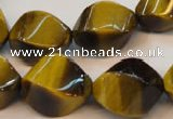 CTE620 15.5 inches 13*18mm twisted rice yellow tiger eye beads wholesale