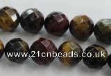 CTE714 15.5 inches 12mm faceted round mixed color tiger eye beads