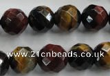 CTE715 15.5 inches 14mm faceted round mixed color tiger eye beads