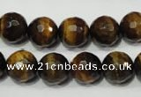 CTE754 15.5 inches 12mm faceted round yellow tiger eye beads wholesale