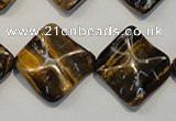 CTE840 15.5 inches 20*20mm wavy diamond yellow tiger eye beads