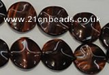 CTE852 15.5 inches 16mm wavy coin red tiger eye beads