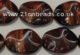 CTE860 15.5 inches 18*25mm wavy oval red tiger eye beads