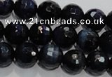 CTE934 15.5 inches 12mm faceted round dyed blue tiger eye beads