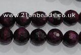 CTE973 15.5 inches 10mm faceted round dyed red tiger eye beads