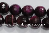 CTE974 15.5 inches 12mm faceted round dyed red tiger eye beads