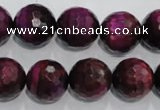 CTE975 15.5 inches 14mm faceted round dyed red tiger eye beads