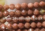 CTG1066 15.5 inches 2mm faceted round tiny goldstone beads
