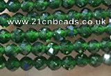 CTG1068 15.5 inches 2mm faceted round tiny green goldstone beads