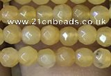 CTG1149 15.5 inches 3mm faceted round tiny yellow jade beads