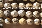 CTG1158 15.5 inches 3mm faceted round tiny picture jasper beads