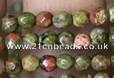 CTG1181 15.5 inches 3mm faceted round tiny unakite gemstone beads