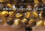 CTG1184 15.5 inches 3mm faceted round tiny yellow tiger eye beads