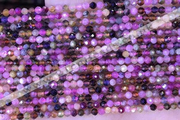 CTG1326 15.5 inches 2mm faceted round tourmaline beads wholesale