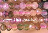 CTG1384 15.5 inches 2mm faceted round tiny tourmaline beads