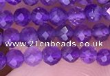 CTG1624 15.5 inches 3mm faceted round tiny amethyst beads