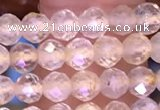 CTG1628 15.5 inches 4mm faceted round tiny golden rutilated quartz beads