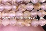 CTG1630 15.5 inches 3mm faceted round tiny golden rutilated quartz beads