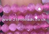 CTG1640 15.5 inches 3mm faceted round tiny pink tourmaline beads
