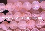 CTG1648 15.5 inches 4mm faceted round tiny strawberry quartz beads