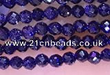 CTG1667 15.5 inches 3mm faceted round tiny blue goldstone beads