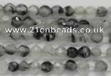 CTG208 15.5 inches 4mm faceted round tiny black rutilated quartz beads