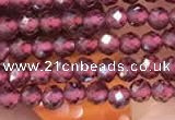 CTG2109 15 inches 2mm faceted round tiny red garnet beads