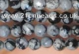 CTG2210 15 inches 2mm,3mm faceted round snowflake obsidian beads