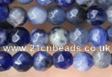 CTG3573 15.5 inches 4mm faceted round sodalite beads wholesale
