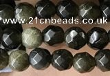 CTG3587 15.5 inches 4mm faceted round golden obsidian beads